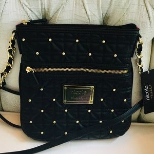 NWT NICOLE MILLER Black Quilted Gold Studded Bag